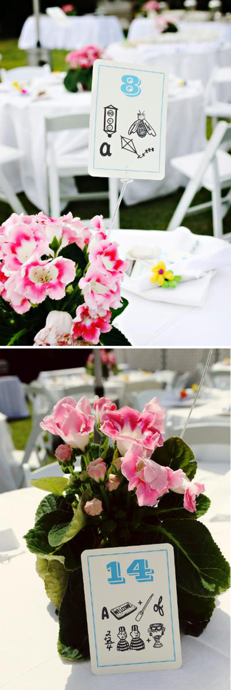 of Gloxinia plants by this couple as their wedding table centerpieces